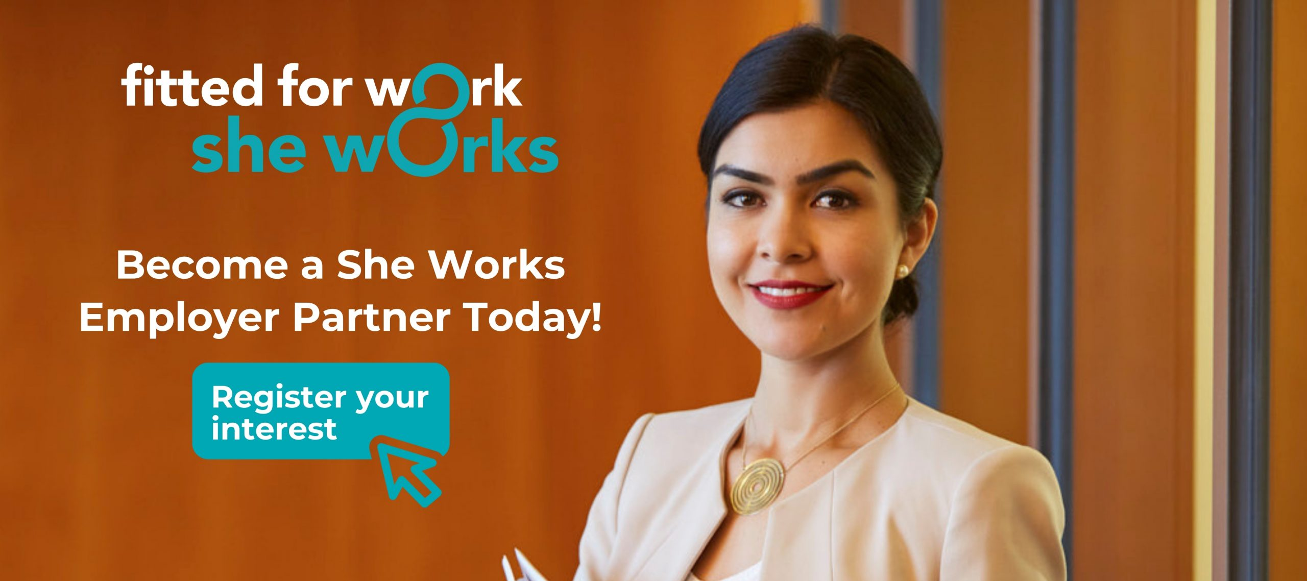 She Works logo. Become a She Works Employer Partner Today! Register your interest.